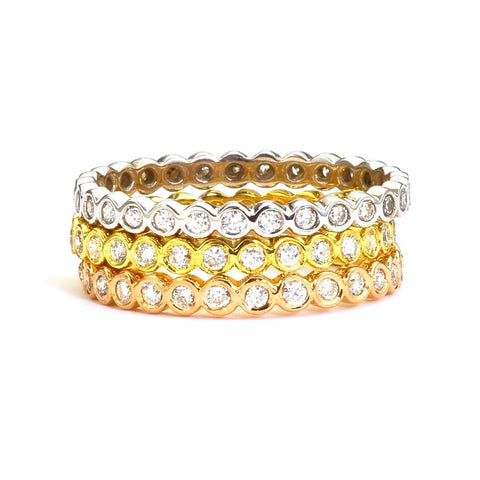 Diamond Eternity Band in 18k eco friendly gold.  Designed by Barbara Polinsky.