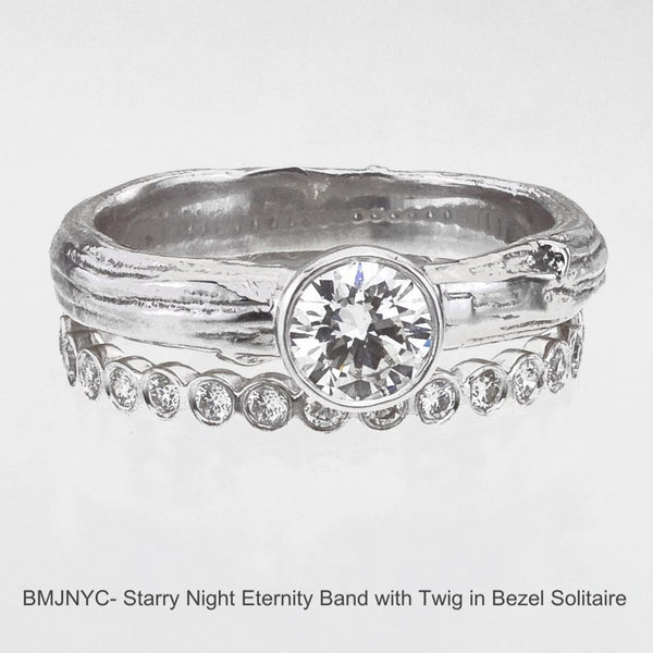 Bezel Branch Goddess Engagement Ring is paired with the Starry Night Eternity Band to make a sparkling bridal set.