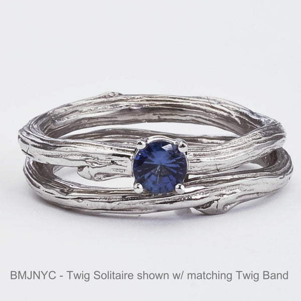 branch wedding ring set with blue sapphire in four prong setting, white gold