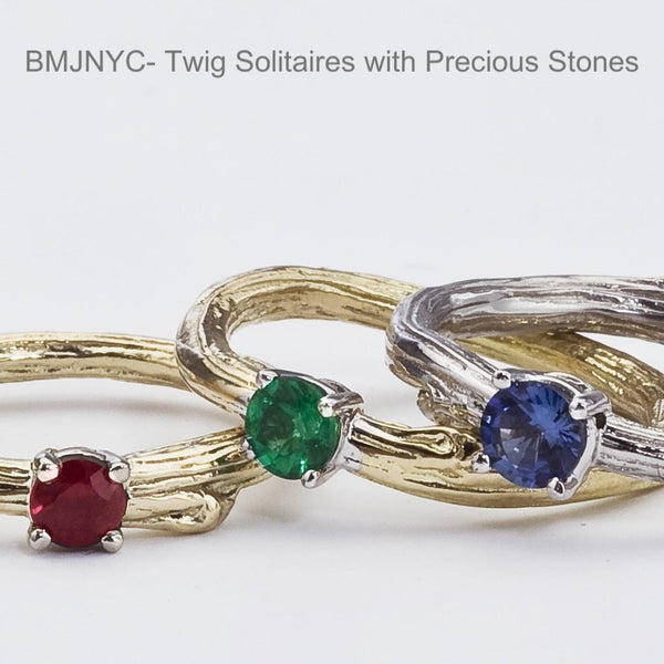 Custom twig rings for engagement or not.,  Eco friendly recycled gold.  Ruby, Emerald,  Sapphire