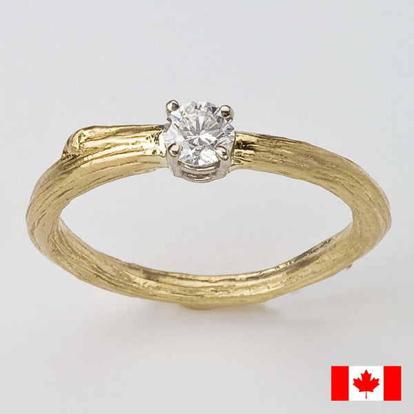 Solitaire Canadian Diamond Twig Engagement Ring in 18K Yellow Recycled Gold.