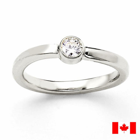 Canadian Diamond Engagement Ring, Bezel setting, Simple Design, Sturdy, Eco-Friendly Recycled Gold