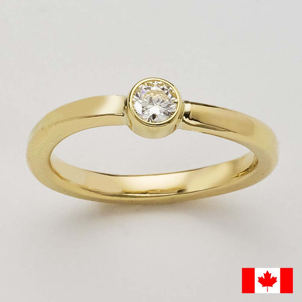 Canadian Diamond Engagement Ring.  Eco Friendly Recycled Yellow Gold, Shiny Polished Finish, Very Sturdy.