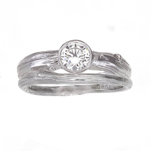 Modern Diamond Engagement Ring with bezel setting and nature inspired tree branch band in white gold with round brilliant diamond - eco friendly