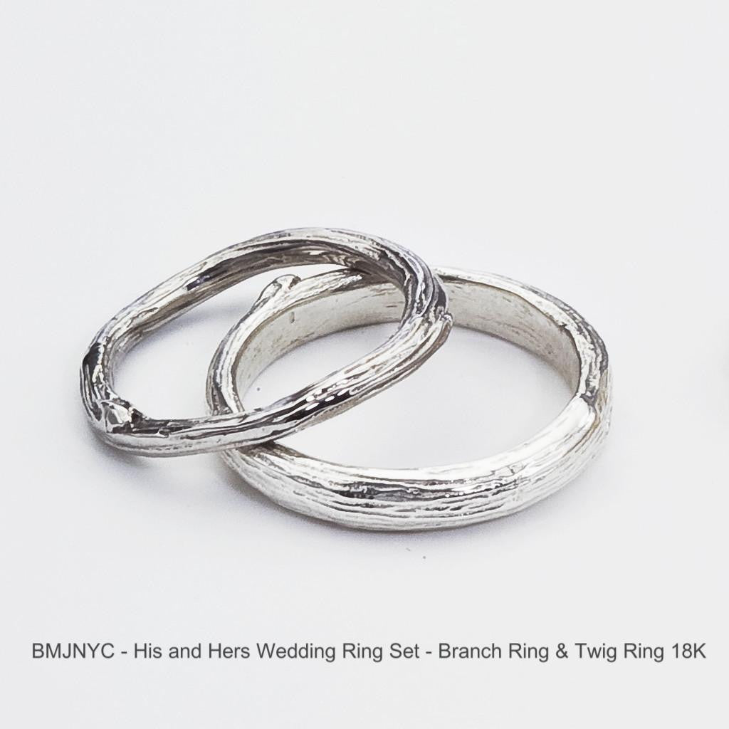Wedding Ring Set, Twig And Branch Organic Nature Inspired In Eco Friendly  Gold   His