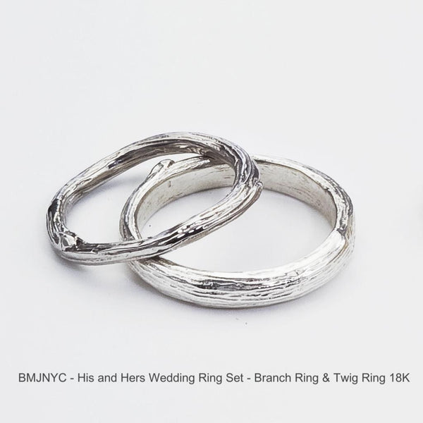Wedding Ring Set, Twig and Branch Organic Nature Inspired in Eco Friendly Gold -  His and Hers