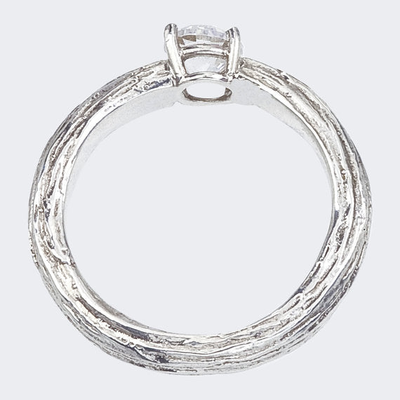 Tree Branch Diamond Ring in White Gold - Side View