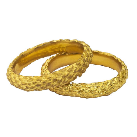 Wide Branch Ring in yellow gold, garland design in dull or shiny.