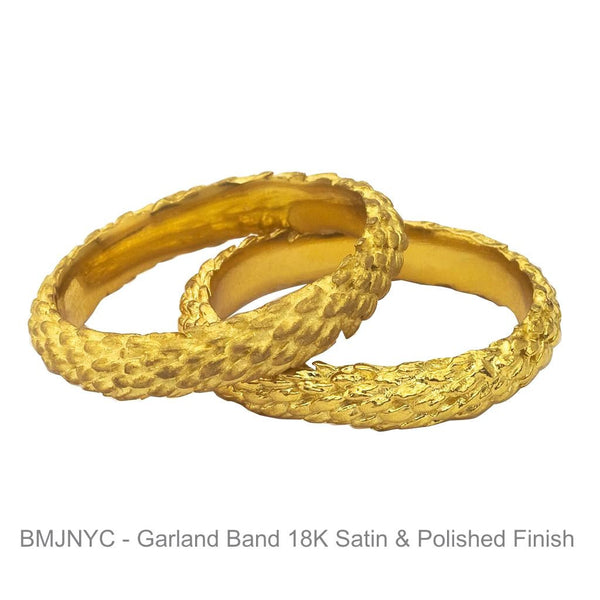 Garland Band in Yellow Gold - Polished and Satin Finishes.