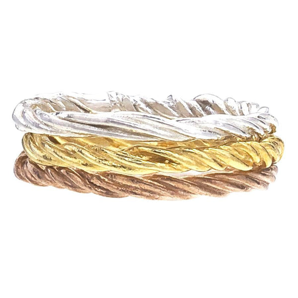 Vine Band by Barbara Polinsky.  Stack of 3 bands in white, yellow and rose 18K recycled gold.