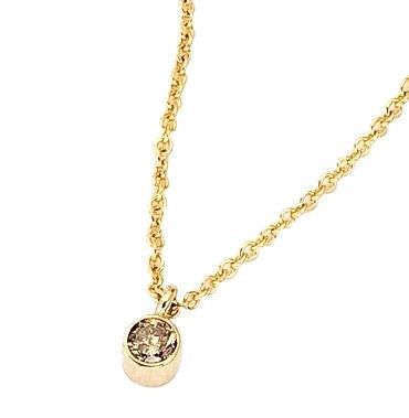 14K gold necklace with a bezel set champagne diamond.