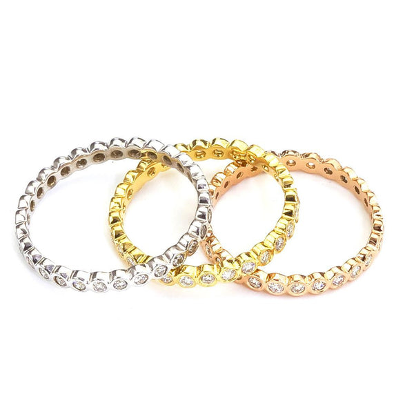 Diamond Eternity Band in white, yellow and rose 18k eco friendly gold.