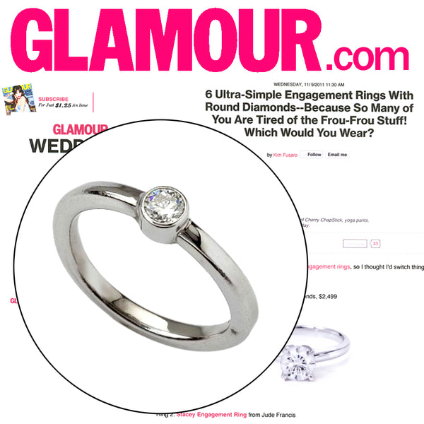 As see in Glamour -- Simple diamond engagement ring with bezel set diamond.