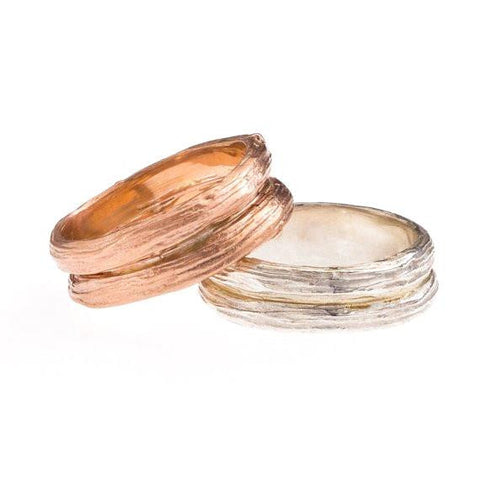 Men's wide wedding ring, tree branch in white, yellow or rose gold, natural outdoors details, sturdy construction, recycled gold.