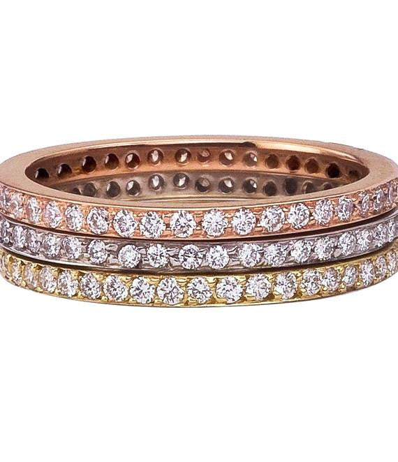 gold diamond thin bands pave ring p stackable ladies band