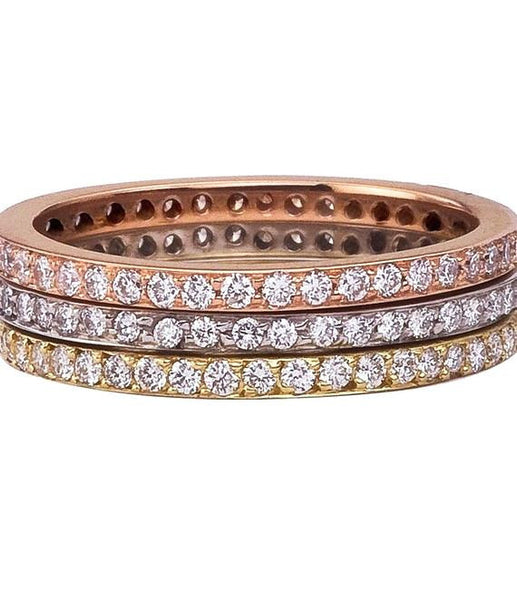 Micro Pave Eternity Bands for stacking or not in three colors of 18K gold.