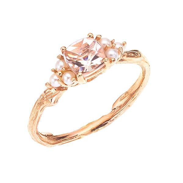 Morganite and pearl anytime ring, 18K gold with wood grain detail. Designed by Barbara Polinsky.
