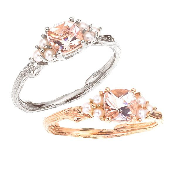 Morganite Gemstone and Pearl Ring