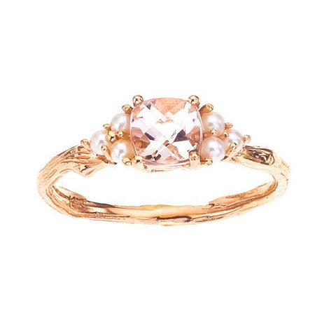 Morganite and pearl ring shown in 18K rose gnd 18K white gold.