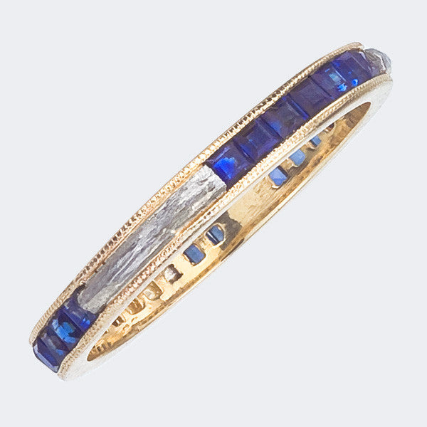 Eternity Ring with Blue Sapphires and Platinum Tree Branch Inlay.  Elegant and Beautiful.  Made in NY