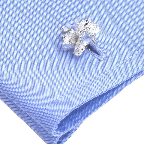 Nature Inspired Cuff Links from Tulip Center in Recycled Sterling, Handmade in NYC