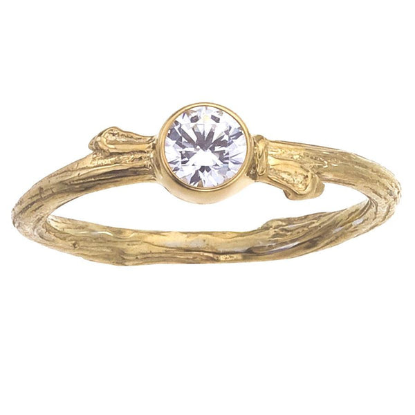 Diamond Engagement Ring, Yellow Gold, Bezel set round diamond, tree branch natural band with buds.  Handmade