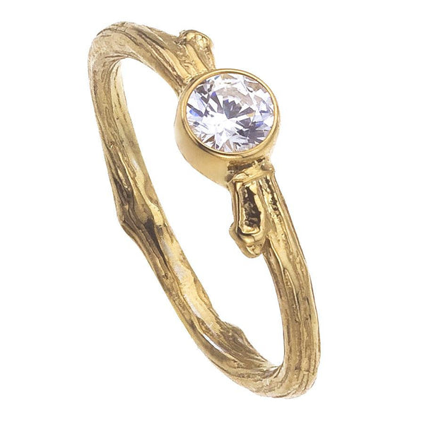Engagement Ring From Central Park NYC Tree Branch, White Diamond, Bezel Setting, Yellow Gold