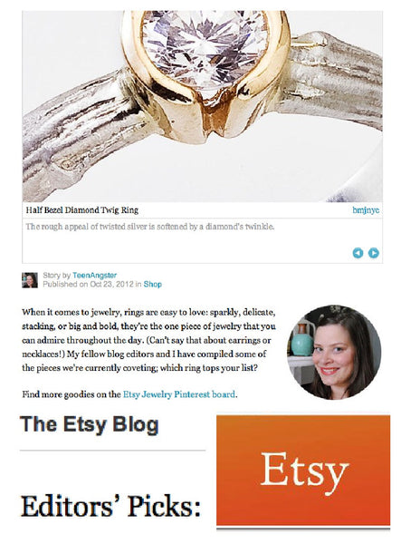 Half Bezel Diamond Twig Engagement Ring featured on The Etsy Blog as an Editor's Pick.