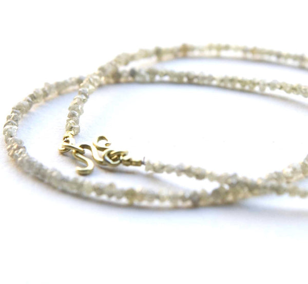 Custom Order- Rough Diamond Necklace with Hand Forged 22K Clasp