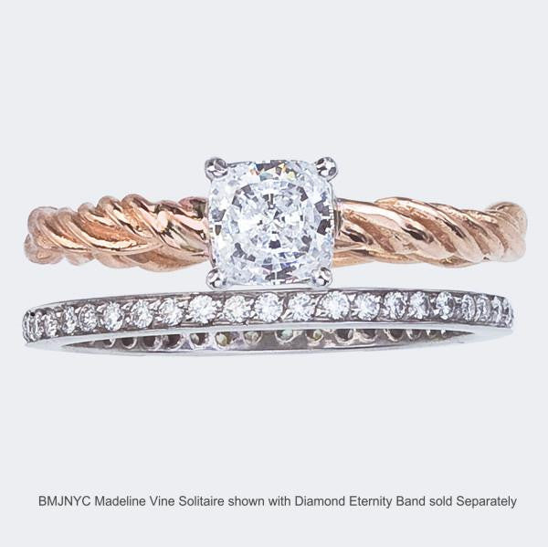 Diamond Engagement Ring with Cushion Cut Stone and Rose Gold Band. Shown With Diamond Eternity Ring in 18K White Gold.
