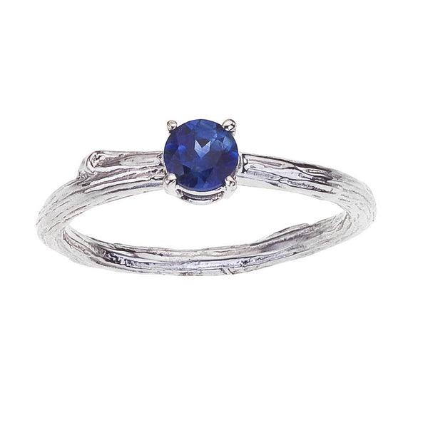 Blue Sapphire Twig Band Solitaire Engagement Ring, 18K Recycled Gold, BMJNYC