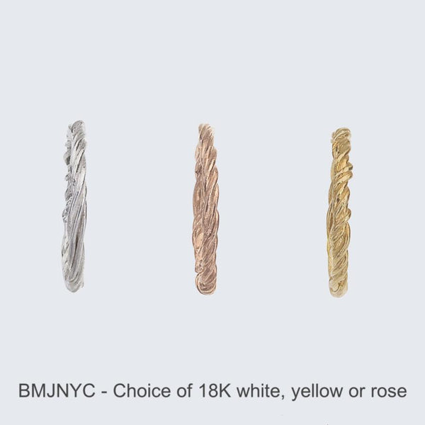 Vine Band in three shades of 18K reclaimed gold: white, rose and yellow.