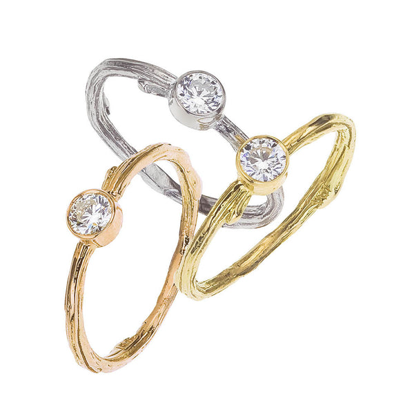 Bezel Engagement Rings - with rustic organic details, round white diamond, recycled gold in rose, white and yellow.