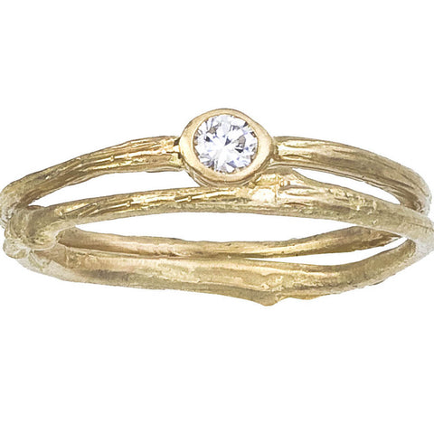 Delicate twig style wedding set. Bezel set diamond. Petite and sweet. Designed by Barbara Polinsky.