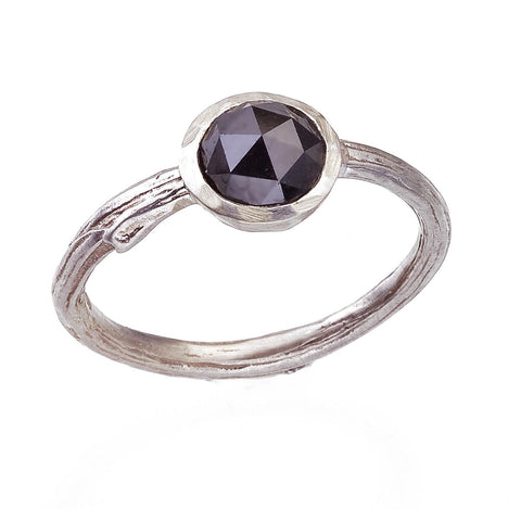 Black rose cut diamond ring - bezel set with nature inspired twig band