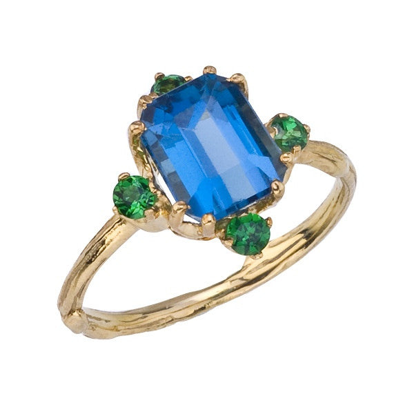 Large Blue Topaz Ring with Natural Twig Details and Green Tsavorite accents.  Peacock Colors