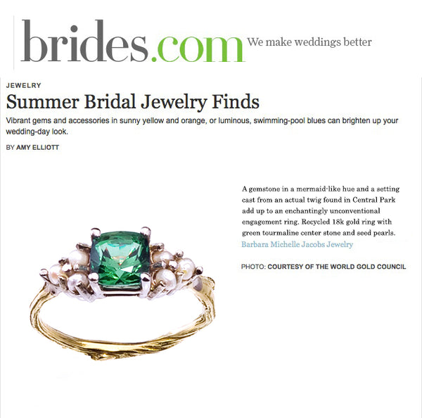 Green Tourmaline and pearl unconventional engagement ring featured on Brides.com.