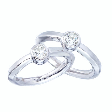 Custom Order - Simple Modern Engagement in White Gold with Antique Pre-Owned Diamonds
