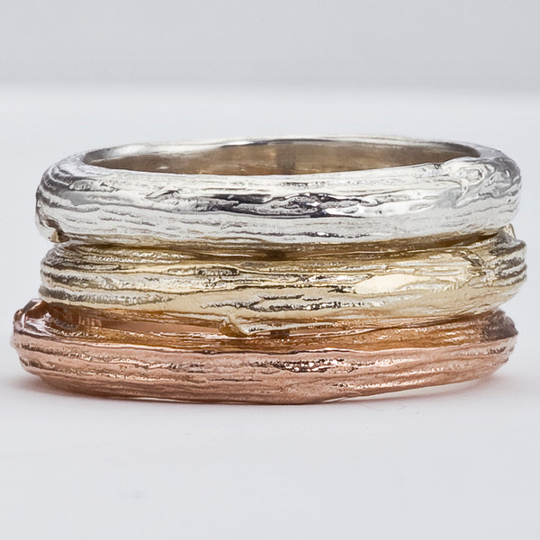 Wide Branch Wedding Ring in White, Yellow or Rose Gold. For Men or Women, Eco-Friendly Recycled Gold