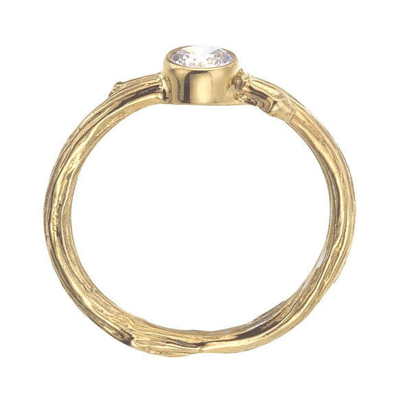 Branch ring in yellow gold - side view