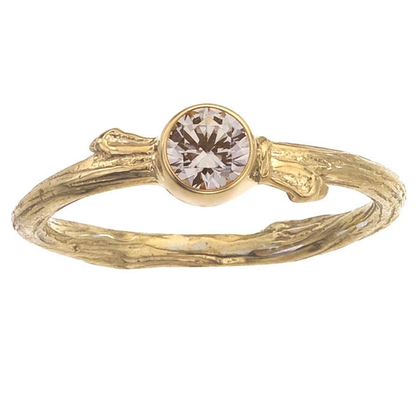 Champagne Diamond Ring for Engagement or Not.  Nature Inspired Tree Branch, Bezel Setting, Recycled Yellow gold.  Simple and Elegant