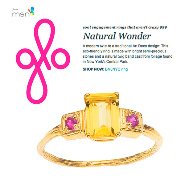 Golden Beryl Emerald Cut Gemstone Ring featured on Glo.com