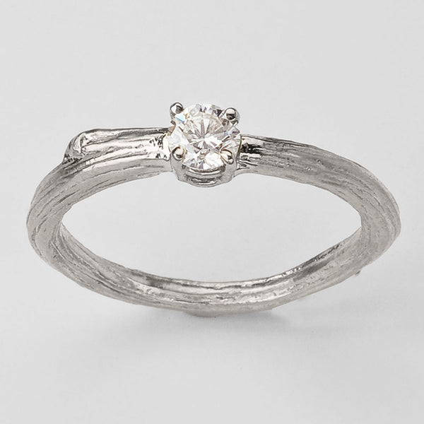 Ideal Twig Solitaire Engagement Ring in 18K recycled white gold.  Designed by Barbara Polinsky.