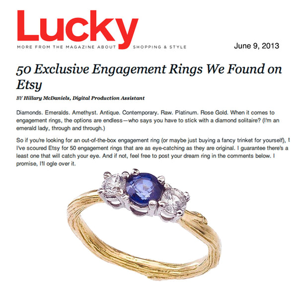 Barbara Polinsky's triple sapphire twig ring as featured in Lucky Magazine.