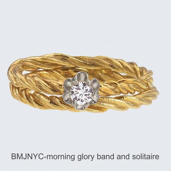 Vine Buttercup Diamond Bridal Set.  Diamond engagement ring with Vine Band.  Designed by Barbara Polinsky.