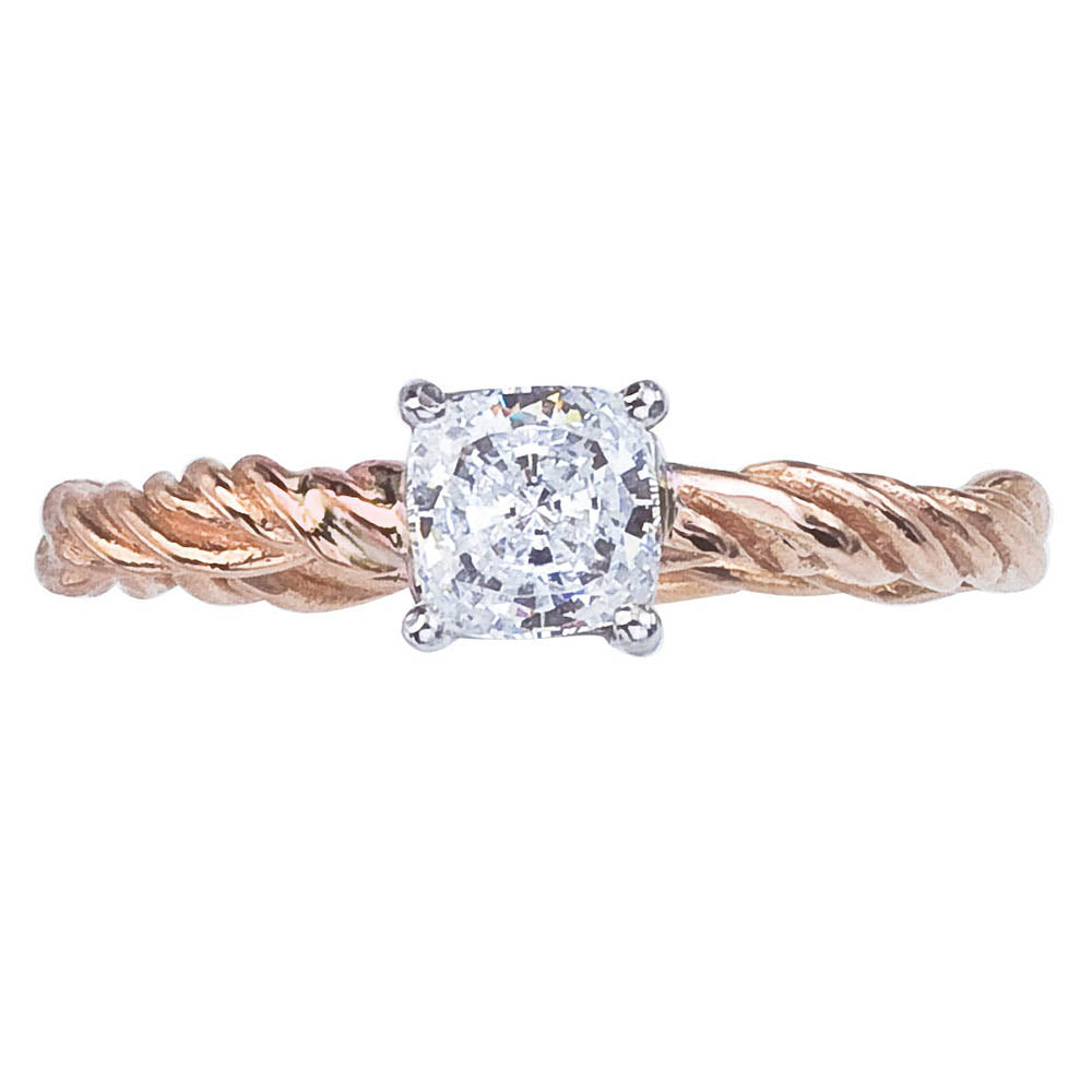 Cushion Cut Diamond Ring  Nature Inspired With Twisted Vine Band In Rose  Gold With White