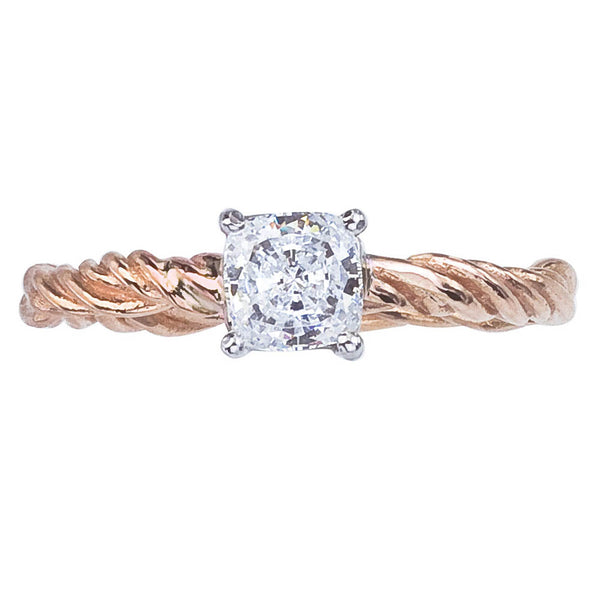 Cushion Cut Diamond Ring - Nature inspired with Twisted Vine Band in Rose Gold with White Gold Prong Setting, GIA Certified Diamond.