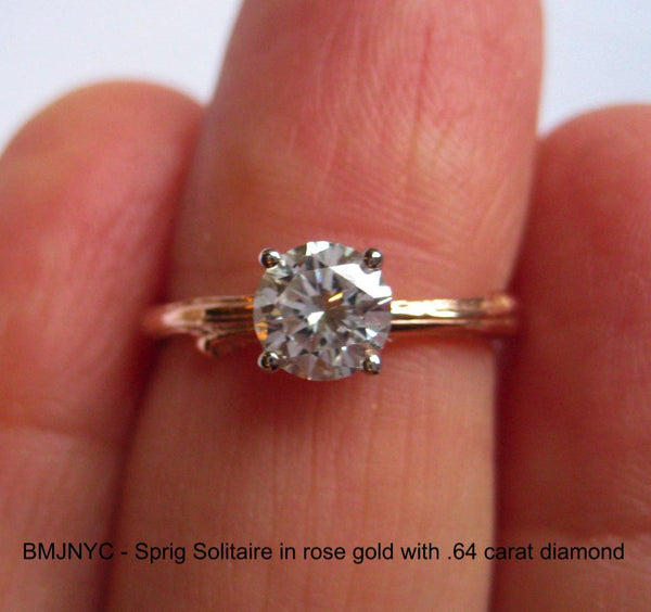 Custom Rose Gold Diamond Ring with Rose Gold Narrow Twig Band.