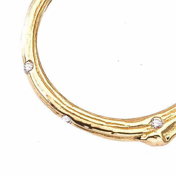 delicate branch wedding band ring whimsically scattered with diamonds, yellow 18K gold