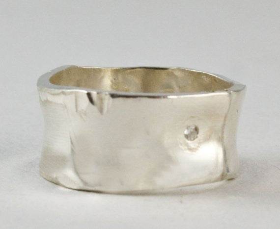 Wide Silver Ring with Small Diamond